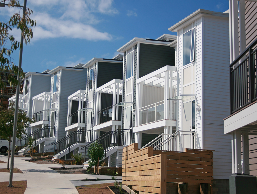 Main street residential housing showing Edge balustrade canopy and louvre screesn