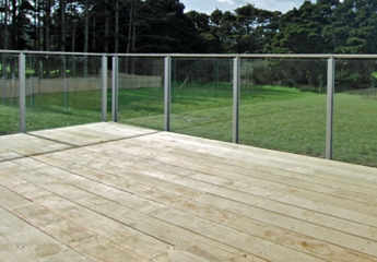 Edge semi frameless glass balustrade with top fitted low profile interlinking top rail